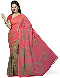 Ishin Women's Faux Georgette Saree With Blouse Piece (Ishinsp-Ss-128, Beige & Pink, Free Size)