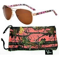 c1b3a52ceb52c8 Hornz Rose Camouflage polarisée Lunettes de Soleil aviateur pour Les Femmes  et l appariement Libre