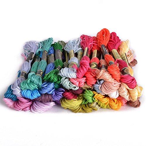 Romote 50 Stück Multi Farben Kreuzstich Baumwolle Stickerei Thread Zahnseide Nähen Stränge (Baumwolle Hand Stickerei Farbe)