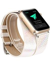 X-cool para correa apple watch 38mm Blanco Glitter Cuero Mujeres Largo Doble C¨ªrculo para Apple Watch Series 1/2