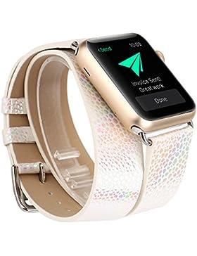 X-cool für Apple Watch Armband Replacement Wrist Band 38mm Weiß Bling Glitzer Leder Lange Double Kreis für Damen