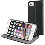 Muvit Etui Folio Fit Croute De Cuir Noir Pour Apple Iphone 7 Plus