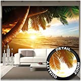 GREAT ART Foto Mural Puesta del Sol Playa- Decoración Caribe Póster Sunset Palm Beach Imagen de Atardecer (336x238cm)