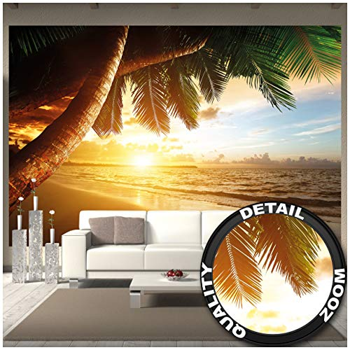Great Art Fototapete - Sonnenuntergang am Meer - Wandbild Dekoration Karibik Palm Beach Paradies Strand Sonne Urlaub Reisen Natur Insel Wandtapete Fotoposter Wanddeko (336 x 238 cm)