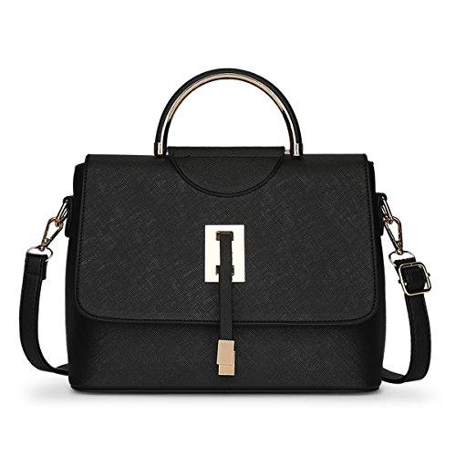 HQYSS Damen-handtaschen Frauen PU-lederne frische große Kapazitäts-Schulter-Kurier-Handtaschen-feste Farben-justierbare abnehmbare Einkaufstasche Crossbody Beutel black