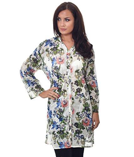Da donna lungo con bottoni leggero estivo top tessuto viscosa Fit per taglia 8–20estate floreale stampe Design-1