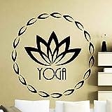 Lotus Art Etiqueta de La Pared Fitness Yoga Símbolo Vinyl Applique Home Gym Interior Decoración Impermeable Art Mural 28 gris oscuro 42x42 cm