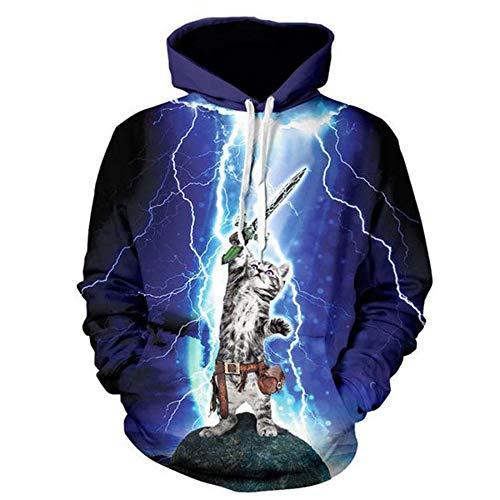 WYms 3D Herren Hoodie Lightning Fechten Katze Muster Tasche Set Kopf Trends Cap Herren Sweatshirt, M -