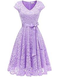 Berylove Damen V-Ausschnitt Kurz Brautjungfer Kleid Cocktail Party Floral Kleid BLP7006LavenderM