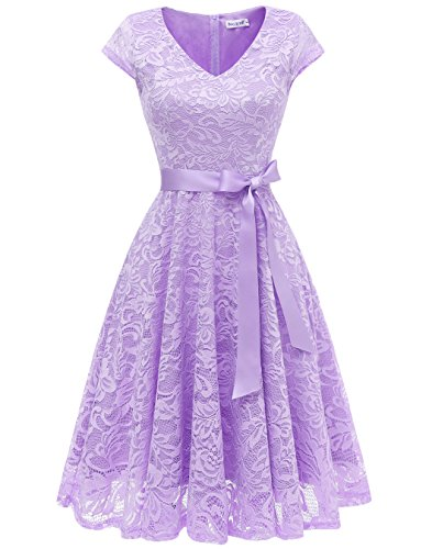 Berylove Damen V-Ausschnitt Kurz Brautjungfer Kleid Cocktail Party Floral Kleid BLP7006Lavender2XL Lange Party-kleid
