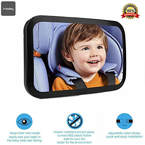 Star Ibaby Easy View Premium - Espejo retrovisor vigilabebés, extra grande
