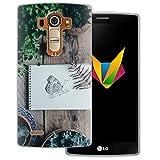 dessana Frühling transparente Silikon TPU Schutzhülle 0,7mm dünne Handy Soft Case für LG G4 Schmetterling Garten