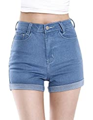 Vintage Vintage Femmes Taille Haute Sertissage Short en Jean Shorts Jeans Hot Pants