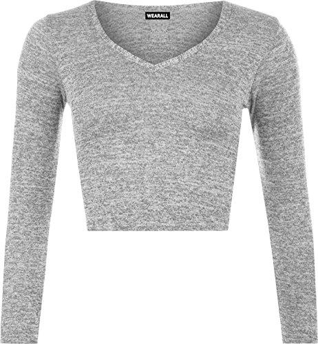 WearAll - DamenLangarm Strick Stretch Rundhals T-Shirt Crop Top - Grau - 36-38