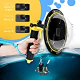 "TELESIN Dome Port GoPro Kamera Zubehör, Unterwasser 6"" GoPro Dome Port Abdeckkoffer mit wasserdichtem Deckel Case + Floating Bobber Handle + Trigger für GoPro Hero2018 Hero6 Hero5 Schwarz Hero7 Black"