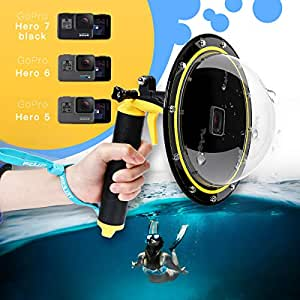 "TELESIN GoPro Dome Port, Underwater 6"" Waterproof Cover Case with Floating Bobber Handle for GoPro Hero7 Black/ HERO6 / Hero5 /GoPro Hero 2018"