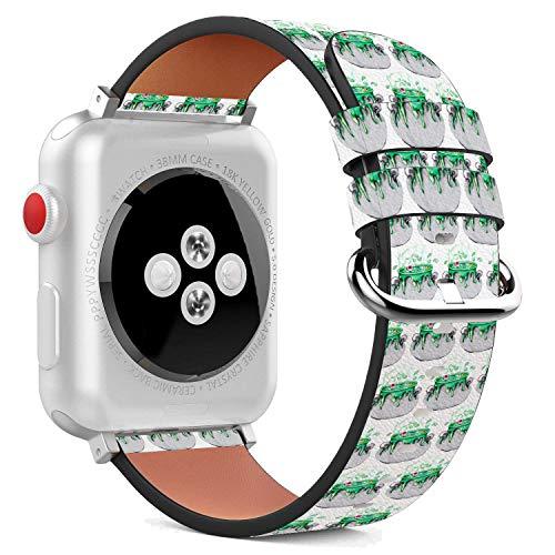 MysticBand Für Apple Watch 44mm / 42mm Armbänder Uhrenarmband Ersatz Lederarmband mit integriertem Armband Adaptors - Grüne Hexe Brew Potion