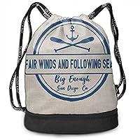 wwoman Girls & Boys Drawstring Bag Theft Proof Lightweight Beam Bag, Gym Shoulder Backpack - Custom Sea Lake Ship Boat Waterproof Backpack Soccer Basketball Bag