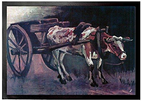 1art1 94761 Vincent Van Gogh - Karren mit Rotbraunem Ochsen, 1884, Detail Fußmatte Türmatte 70 x 50 cm