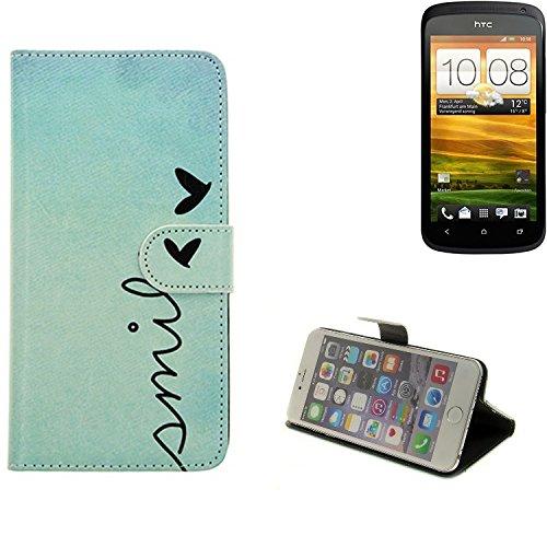 360° Wallet Case Schutz Hülle für HTC One S, ''smile'' | Smarpthone Flip cover Flipstyle Tasche - K-S-Trade (TM)