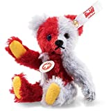 Steiff 006791 Harlekin Mini Teddybär 10 cm rot/blau 5-Fach gegliedert