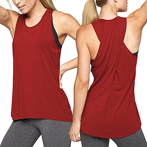 Damen Trägershirts Basic Tops Frauen Cross Back Yoga Shirt Ärmelloses Racerback Workout Active Tanktop Casual Pullunder T-Shirt Einfarbig Weste Freizeit Sommerblusen ( Weinrot,M)