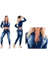 Conjunto de 2 Piezas Chaqueta + Pantalon /Vaquero /Jeans Wonder / Push Up Súper Pitillo Skinny Jeans Efecto Wonder