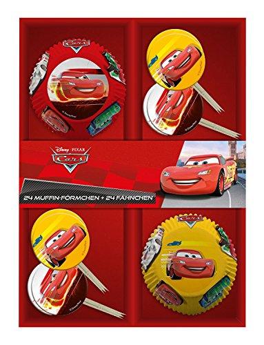 p:os 25689, Disney Pixar Cars 24 Muffinförmchen mit 24 Fähnchen im Geschenkkarton