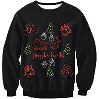FOOBRTOPOO Novedad Navidad Sudadera navideña Deporte de Invierno Sudaderas Tops Impresión de Navidad Pullover Unisex Manga Larga O-Cuello Outwear Tops Blusa-S (Color : Colorful, tamaño : S)
