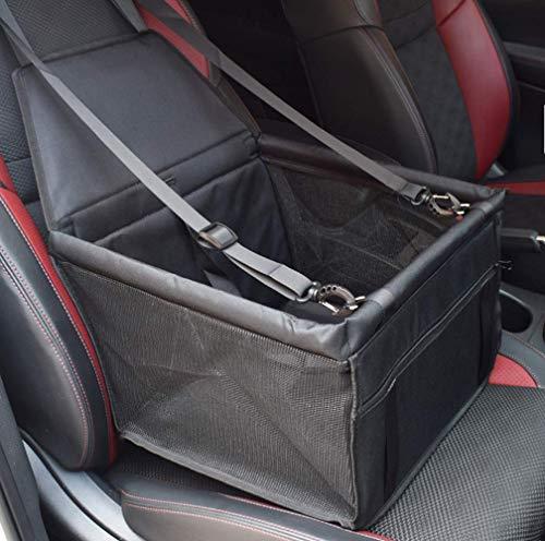 YAOJU Hunde Autositz für Hunde, Hundebox Auto Sitzerhöhung für Hunde,Wasserdicht Faltbar Atmungsaktiv Haustier Sicherheit für Reise,Kleine Hunde oder Katzen (Schwarz)
