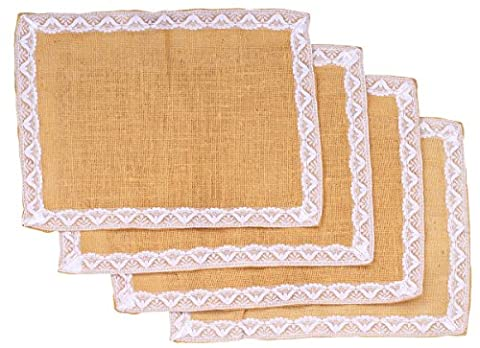 SouvNear Premium Quality Burlap Place Mats with White Lace Set of 4 Placemats for Dining Table Decor Decoctions with Brown Borders Eco-Friendly Jute