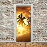 Haipeiy Türaufkleber Seaside kokospalme wandaufkleber DIY wandbild Schlafzimmer wohnkultur Poster PVC Wasserdichte tür Aufkleber 77x200cm