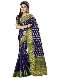 Saree Kurti Marts Women's Poly Cotton Saree With Blouse Piece (Skm-Pf-00512_Blue)