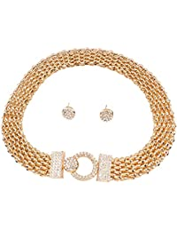Yazilind Vogue 18K Gold Plated Rhinestone Chunky Chain Choker Collar Necklace Earrings Set for Women