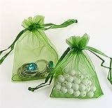Liroyal 50pcs jewelry wedding organza gift bags Green
