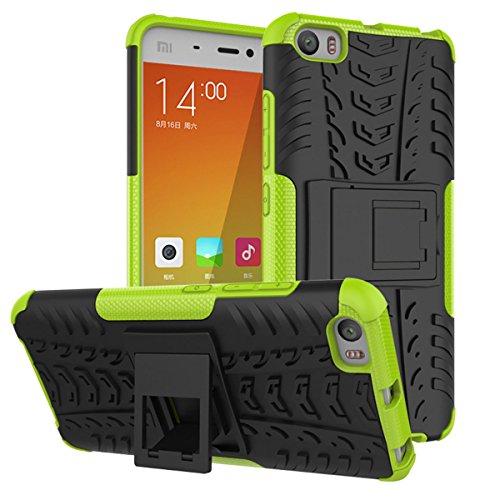 Per Xiaomi 5Custodia, Xiaomi 5Mi5M5Cover, M. JVisun Heavy Duty 3d in plastica rigida + gomma morbida [2in 1] [Cavalletto] Rugged Armor Cover antiurto Bumper Hybrid Hard Back Skin per xiaomi 5Mi5M5, Pelle PLASTICA, verde, For Xiaomi 5 Mi5 M5