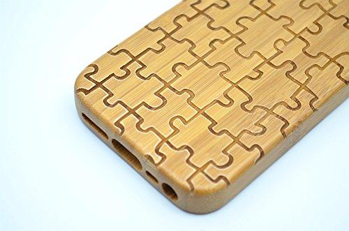 RoseFlower® iPhone SE / iPhone 5S / iPhone 5 Holzhülle - Kirschholz - NatürlicheHandgemachteBambus / Holz Schutzhüllemit Kostenlose Displayschutzfolie für Ihr Smartphone Bambus-Puzzle
