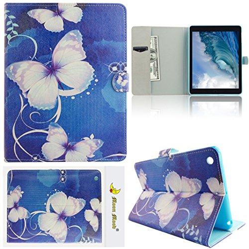 Preisvergleich Produktbild Moon mood® PU Leder Schutzhülle für Apple iPad Air 2 (9.7 Zoll) Weich TPU Innern Hülle mit Bunte Malerei 3 Kartenfächer Standfunktion Magnetverschluss Tab Tasche (Blau Blume Rebe Lila Schmetterling)