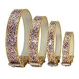 Bbl345dLlo Hundehalsband, bequem, verstellbar, glitzernde Pailletten, Schnallenverschluss, für Hunde und Katzen, Größe XS, goldfarben