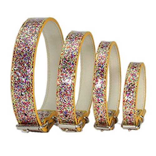 Bbl345dLlo Hundehalsband, bequem, verstellbar, glitzernde Pailletten, Schnallenverschluss, für Hunde und Katzen, Größe XS, goldfarben - Pailletten-licht