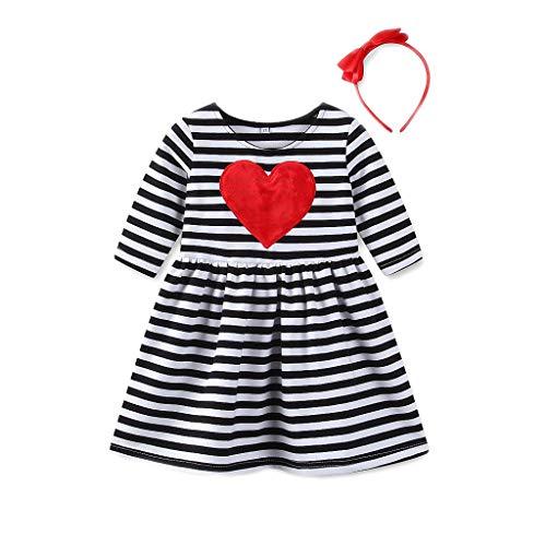 TIFIY Prinzessin Kleid Valentinstag Mädchen Herz gestreift Dress Sundress Outfits Kids Baby Kleidung(Schwarz,4T)