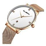 Armbanduhr für Herren Damen Slim Uhr Ø36mm mit Milanaise-Armband