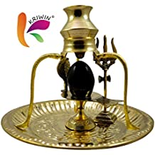 Kriwin Black Shiva Ling/Shivling with Brass Trishul Jalahari Yoni, Plate, Kalash with Stand and Trishul