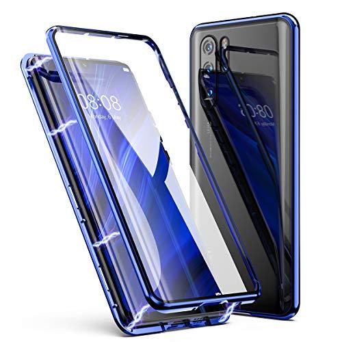 Huawei P30 Pro Hülle, ZHIKE Einteiliges Design magnetischer Adsorptionskasten Vollbildabdeckung Gehärtetes Glas Zurück mit eingebautem Magnetklappdeckel für Huawei P30 Pro (Transparent Blau) (Handy-back-up-kamera)