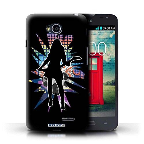 Kobalt® Imprimé Etui / Coque pour LG L70/D320 / Windmill Noir conception / Série Rock Star Pose Rock Dame Noir