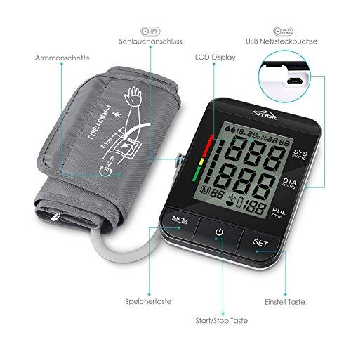 SIMBR Oberarm-Blutdruckmessgerät Vollautomatisch mit Hintergrundbeleuchtung 180 Speicherplätze für Zwei Benutzer Höher Genäuigkeit - 6