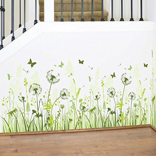 casa-tarassaco-foglie-verdi-e-fiori-e-farfalle-adesivo-da-parete-decorazioni-in-pvc-vinile-carta-da-