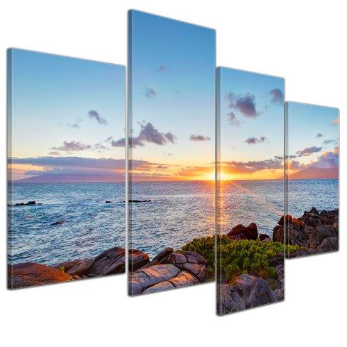Wandbild - Küstenlinie Maui - Hawaii - USA - Bild auf Leinwand - 120x80 cm 4 teilig - Leinwandbilder - Landschaften - Amerika - Pazifik - Sonnenaufgang - Sonnenuntergang - Meer -