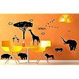 ufengke® Praderas Africanas Animal Salvaje Elefante Leopardo León Venado Pegatinas de Pared, Sala de Estar Dormitorio Removible Etiquetas de La Pared / Murales