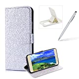 Wallet Leather Case for Huawei P8 Lite 2017,Flip Cover for Huawei P9 Lite 2017,Herzzer Stylish Premium Solid Color Silver Glitter Magnetic Closure Stand Case with Inner Soft Rubber Protective Case